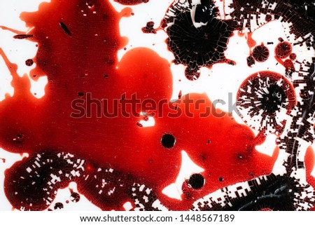Realistic bloody splatters. Drop and blob of blood. Bloodstains. #1448567189