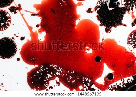Realistic bloody splatters. Drop and blob of blood. Bloodstains. #1448567195