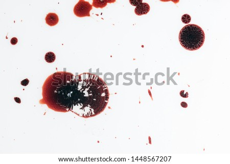 Realistic bloody splatters. Drop and blob of blood. Bloodstains. #1448567207
