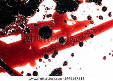 Realistic bloody splatters. Drop and blob of blood. Bloodstains. #1448567216