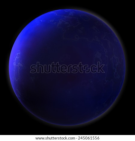Stock Photo Realistic Blue Planet Isolated on Black Background