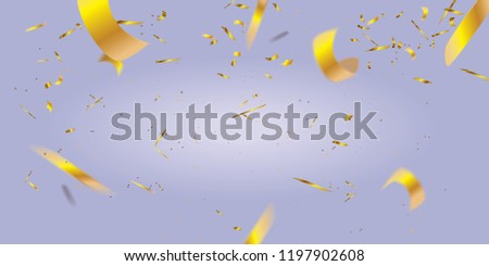 Realistic blurred golden confetti isolated on purple background - Shutterstock ID 1197902608