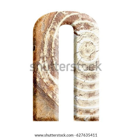 Realistic bread crust texture bold style uppercase or capital letter N from alphabet #018C3 with a textured 3D surface style isolated on a white background with clipping path. Foto stock ©