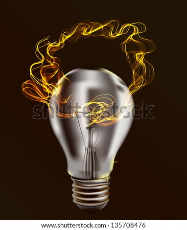 Realistic Bulb isolated over dark Background with Abstract light wave. Illustration