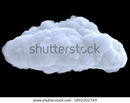 Realistic cartoon dense wtite cloud isolated on black background. Digital graphic element. Beautiful natural phenomenon. 3d render illustration. Stock photo ©