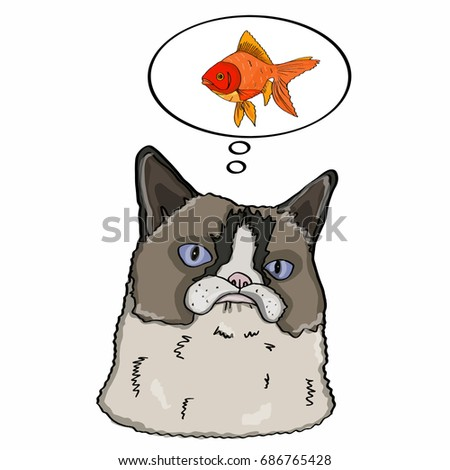 Realistic cat head  and fish Stok fotoğraf ©
