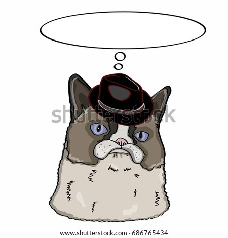 Realistic cat head  and hat and thinking balloon Stok fotoğraf ©