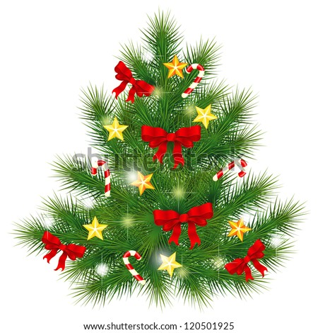 Realistic Christmas fir tree decorated with red bows and stars