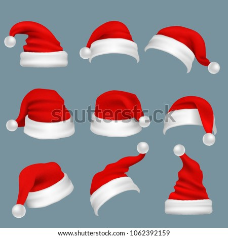 Realistic christmas santa claus red hats isolated set. Santa claus cap to xmas holiday celebration illustration - Shutterstock ID 1062392159