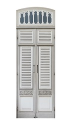 Realistic classic style wooden door frame isolated on white background, old vintage window pane of royal palace terrace architecture