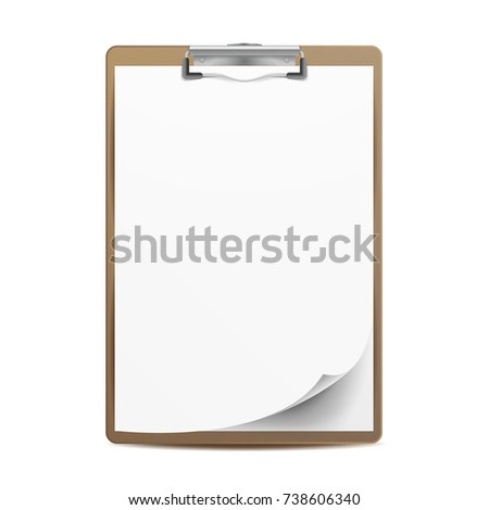 Realistic Clipboard. A4 Size. Top View. Isolated On White Illustration