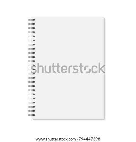 Realistic closed notebook. Vertical blank copybook with metallic silver spiral. Template (mock up) of organizer or diary isolated. A4.