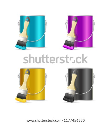 Realistic Color Steel Can Bucket and Paint Brush Set Palette and Equipment CMYK Concept. illustration #1177456330