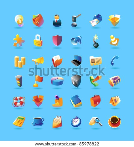 Realistic colorful icon set for business, finance and security on light blue background. Raster version. Vector version is also available.