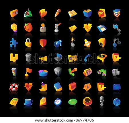 Realistic colorful icon set on black background. Raster version. Vector version is also available.