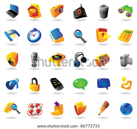 Realistic colorful icons set for computer and website interface on white background. Raster version. Vector version is also available.