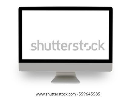 Realistic Computer Monitor with Blank Screen Isolated on white Background. #559645585