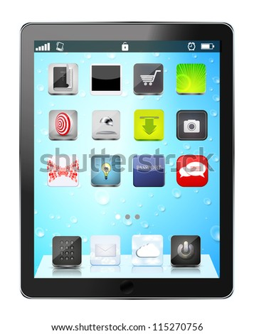 realistic computer tablet with app icon on drop background