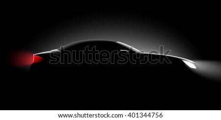 realistic convertible with the roof up, side view in the dark