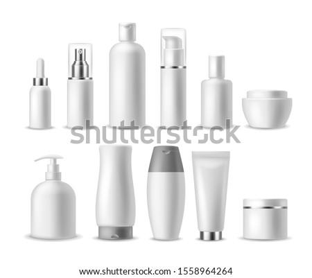 Realistic cosmetic package. White blank cosmetics bottles, containers. Beauty products. Spray, soap and cream, shampoo blanc luxury packaging mockup