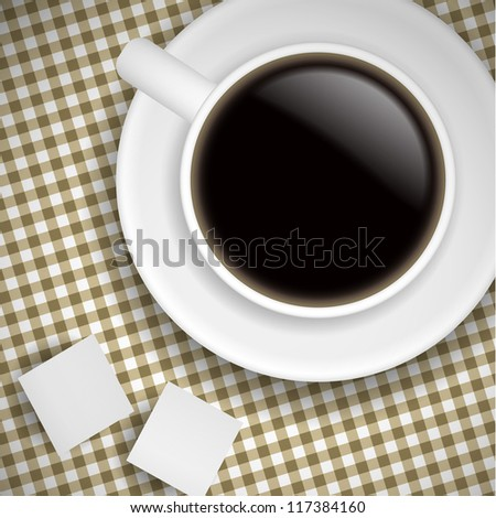 Realistic Cup of coffee on brown tablecloth - RASTER VERSION