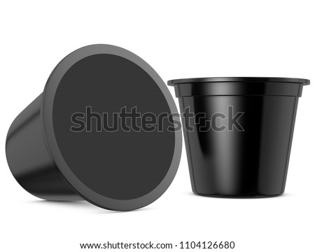 Realistic 3D coffee capsules rendering and mockup on white background