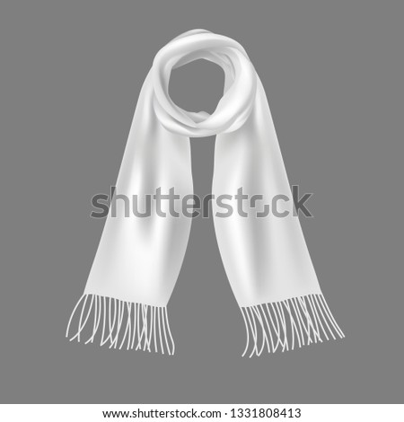 adf4aa8857002 Realistic 3d Detailed Soft White Scarf Elegant Unisex Accessory made of  Wool for Winter on a