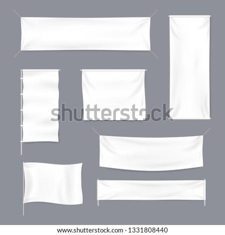 Realistic 3d Detailed White Blank Textile Advertising Banner Template Mockup Set. illustration #1331808440