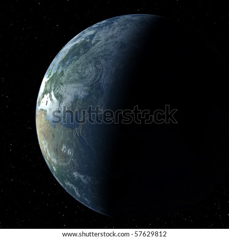 Realistic 3D Earth globe crescent with atmosphere showing Europe