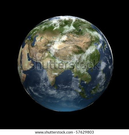 Realistic 3D Earth globe with atmosphere facing Asia