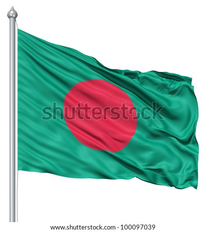 Realistic 3d flag of Bangladesh fluttering in the wind.