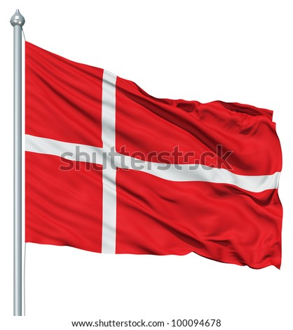 Realistic 3d flag of Denmark fluttering in the wind.
