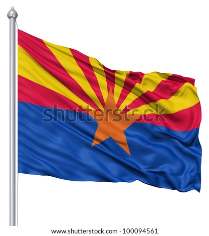 Realistic 3d flag of United States of America Arizona fluttering in the wind.
