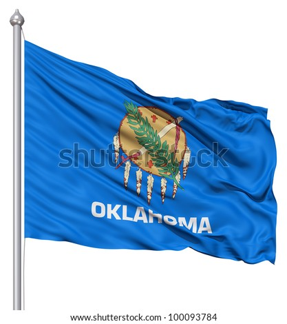Realistic 3d flag of United States of America Oklahoma fluttering in the wind.