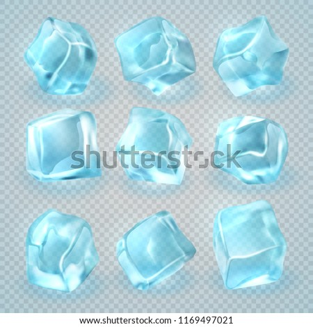 Realistic 3d ice cubes isolated on transparent background. set of ice cube 3d clear illustration