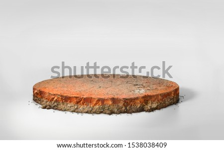 realistic 3D Illustration circle soil ground cross section with earth land, 3D rendering round cutaway terrain floor with rock isolated