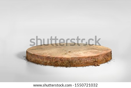 realistic 3D Illustration circle soil ground cross section with earth land on white, 3D rendering round cutaway terrain floor with rock isolated