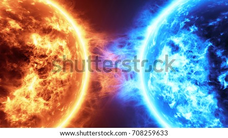 Realistic 3d illustration Fire Planet Vs Frozen Planet. Sun surface with solar flares against Frozen planet isolated on black. Highly realistic sun surface. Fire vs Ice concept.