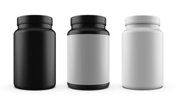 realistic 3d mockup design   black white label white medicine jar mockup realistic 3d rendering with white label 3 jars set   realistic 3d mockup   realistic 3d mockup rendering