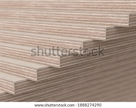 Realistic 3d render illustration of wooden plywood