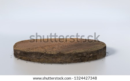 Realistic 3D rendering circle cutaway terrain floor with rock isolated, 3D Illustration round soil ground cross section with earth land