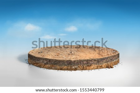 Realistic 3D round cutaway terrain floor with rock isolated, 3D rendering circle soil ground cross section with earth land on white background