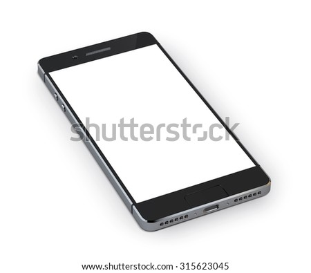 Realistic 3d smartphone mobile device isolated on white background  illustration