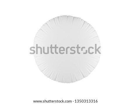Realistic 3d soft white pillow in shape of circle. White pillow on white background.