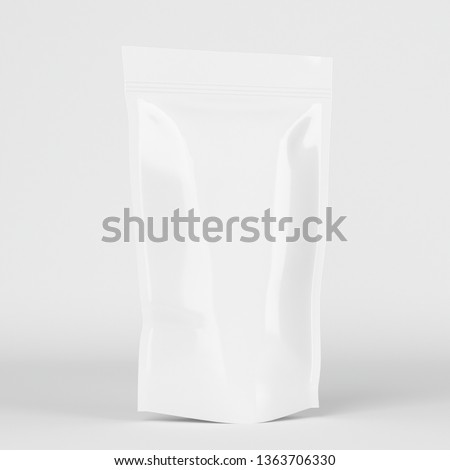Realistic 3D Supplement White Model Pouch With 3D Rendering  #1363706330