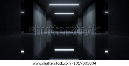 Realistic Dark Underground Hangar Glossy Floor Grunge Cement Columns Walls Parking Tunnel Corridor Showroom Car Light Glowing Background 3D Rendering Illustration