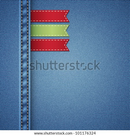 realistic denim background with labels