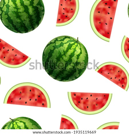Realistic Detailed 3d Whole Ripe Striped Watermelon and Slices with Black Seeds Sweet Fresh Fruit Dessert Seamless Pattern Background on a White. illustration Photo stock ©