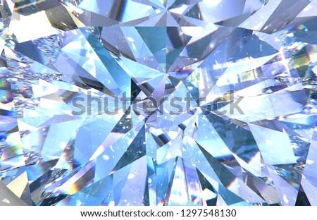 Realistic diamond texture close up. blue gem. 3D illustration