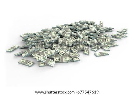 Realistic Dollar Stacks,3d rendering